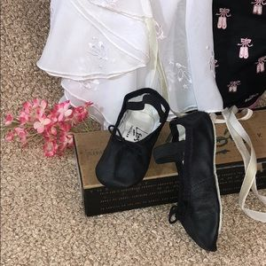 🏆New Leos Black Ballet Shoes Baby Style 48 W=Med.